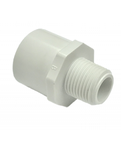 "1/2"" x 3/4"" Schedule 40 PVC Reducing Male Adapter, White, 436-074"