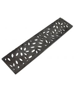 "NDS  554CI - 12"" Mini Channel Grate - Cast Iron (Decorative Botanical)"