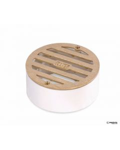 "NDS 909B - 3"" Round Satin Brass Grate With PVC Collar"