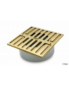 "NDS 913B - Square Grate With PVC Collar, 5"" Satin Brass, 3"""