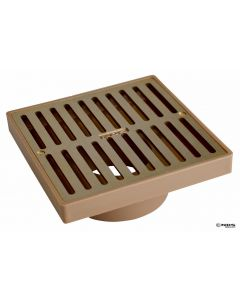 "NDS Square Grate with Styrene Adapter, 6"" Satin Brass, 3"" or 4"""