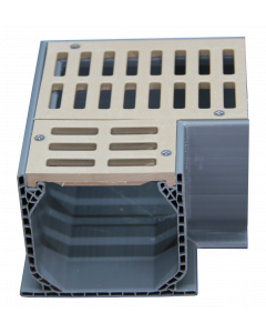 NDS Mini Channel Fabricated 90-Degree Elbow With Grate - Sand