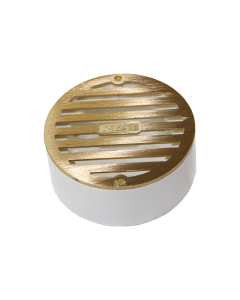 "NDS 910B - Round Grate with PVC Collar, 4"" Satin Brass, 3"" or 4"""