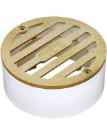 """NDS 3"""" Round Satin Brass Grate With PVC Collar"""