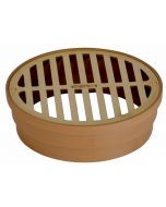 """NDS 6"""" Satin Brass Round Grate with Styrene Collar"""