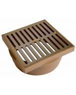 """NDS 6"""" Satin Brass Square Grate with Styrene Collar"""