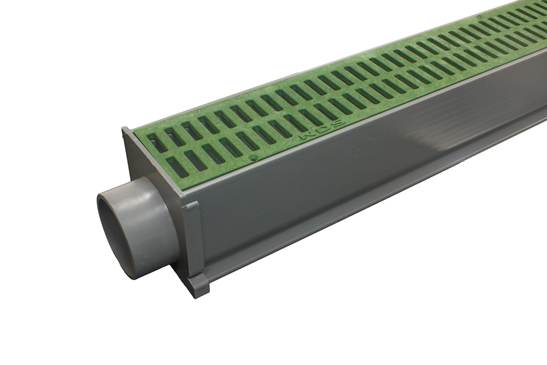 NDS Mini Channel Drain with green grate and spigot end adapter